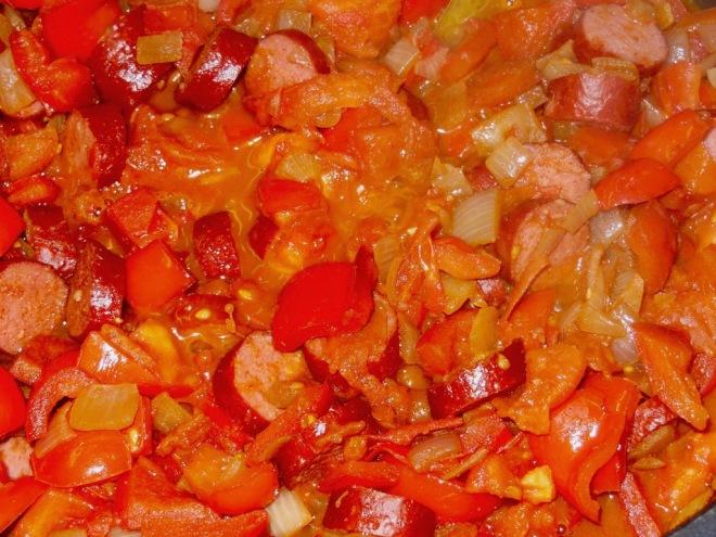 Letcho - Lecho - ungarische Küche - essen - deutsches Rezept - Rezept - Schmorgericht - Leczo - vegetarisch - mit Wurst - Tomaten - Paprika - Beilage - Hauptgericht