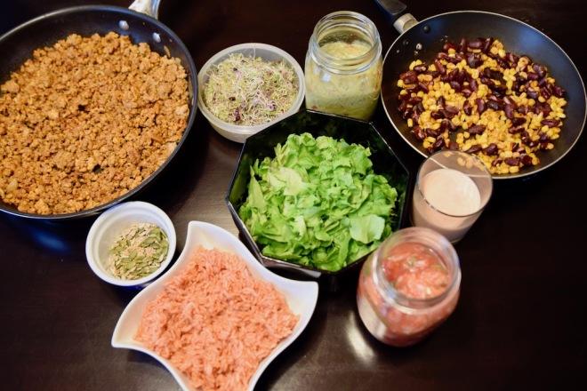 Rezepte: Hauptgerichte: Burrito-Bowl - die einzelnen Bestandteile