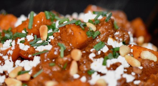 orientalische Süßkartoffel-Hackfleisch-Pfanne mit Feta - orientalisch - Hackfleisch - Süßkartoffel - Feta - Lunchbox - kochen - Rezept - glutenfrei - schnellundeinfach