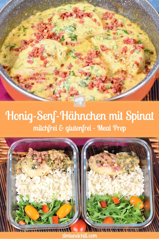 Honig-Senf-Hähnchen mit Spinat